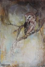 ©2014 Lori McNee Night Owl 20x16 Encaustic