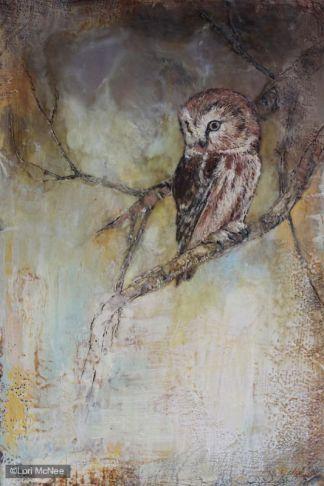 ©2014 Lori McNee Night Owl 20x16 Encaustic