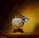©2006 Lori McNee Nuthatch and Ming Brush Pot 12x12 Oil on panel