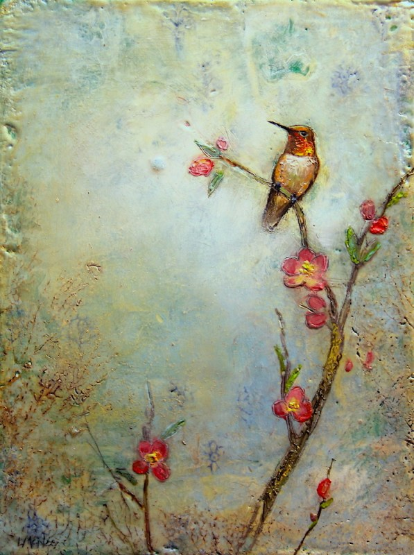 encaustic wax bird painting