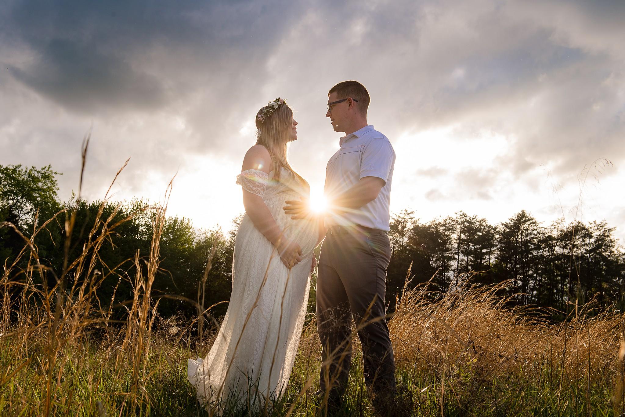 golden hour couples maternity photos