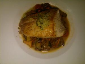 Yellowtail with green peas, chanterelles and more at Cafe Esin.