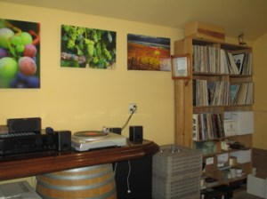 The tasting room at Pessagno Winery has a turntable with a nice collection of old LPs.
