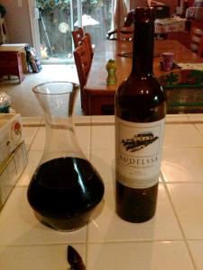 The Audelssa 2001 Cabernet Sauvignon in the decanter, about an hour before dinner.