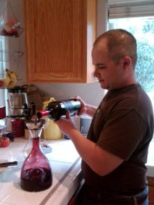 "Winemaker B decanting the magnum of Aver Family Vineyards 2007 ""Blessings"" Petite Sirah"