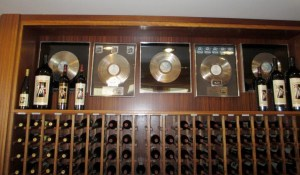 Doobie Brothers platinum records behind the tasting room bar at B.R. Cohn Winery.