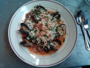 Underwood:  seafood capellini in tomato broth