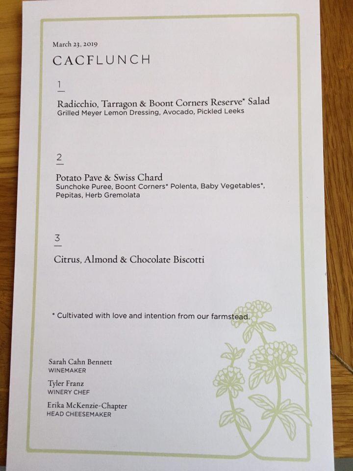 Lunch menu (vegetarian)