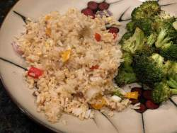 Vegetable fried rice and roasted broccoli