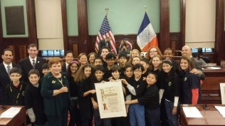 Halsey MOUSE Squad awarded a Proclamation at City Hall for being named MOUSE Squad of the Year.