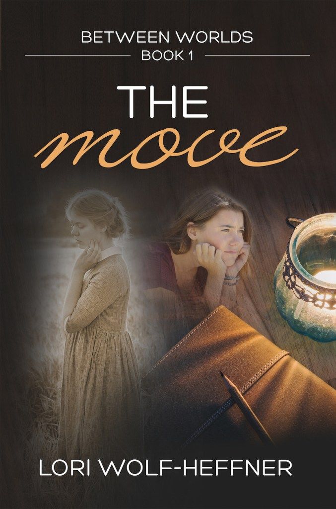 Cover for Between Worlds 1: The Move. Two teen girls look concerned. One is in sepia tone and wearing a dress. The other is in colour, with a t-shirt and bracelets. A tea light and leather-bound book are on a table.