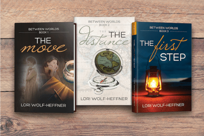 Covers of Between Worlds books 1-3, by Lori Wolf-Heffner. A wonderful series of summer reading for dancers.