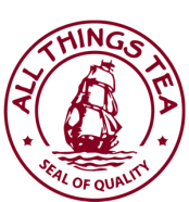 Logo of All Things Tea in Belmont Village, where you can buy the Between Worlds books by Lori Wolf-Heffner