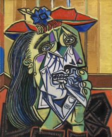 Picasso's 'Weeping Woman.' Hey, if you had eyes in the side of your face, you'd cry too.