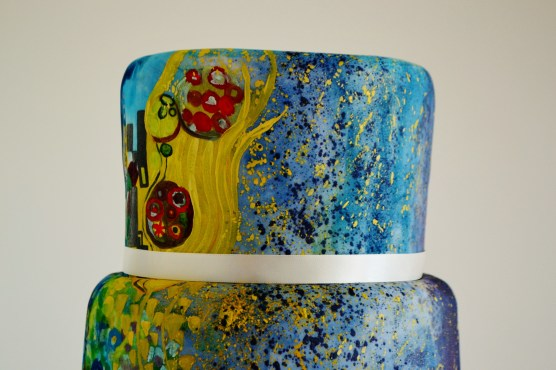 Klimt wedding cake, painted, top tier