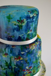 Monet's Waterlillies painted wedding cake side view