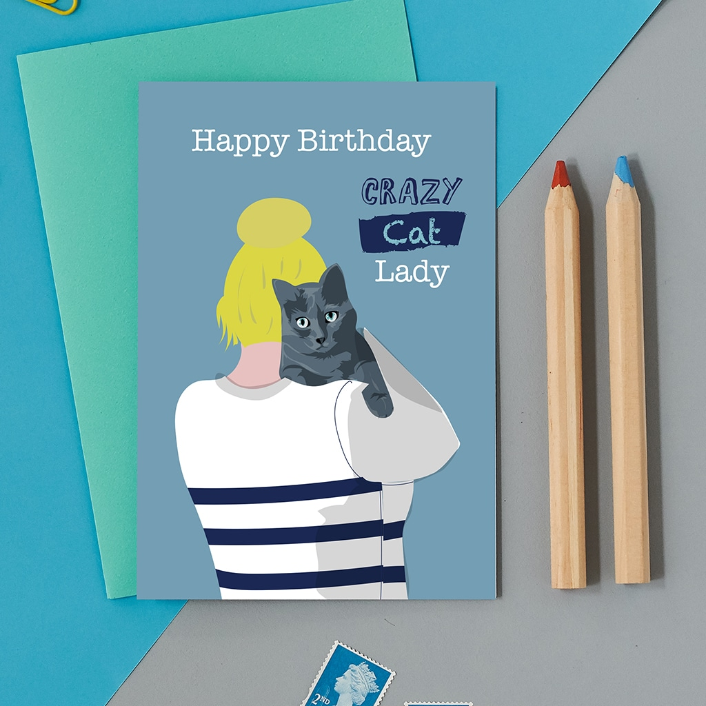 Happy Birthday Crazy Cat Lady Greeting Card Free Uk Delivery