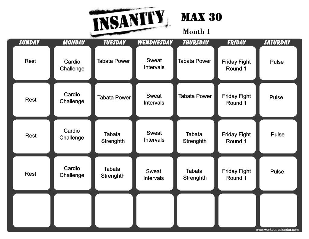 Insanity Month One Printable