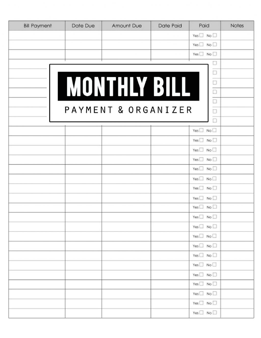 Downloadable Monthly Bill Chart