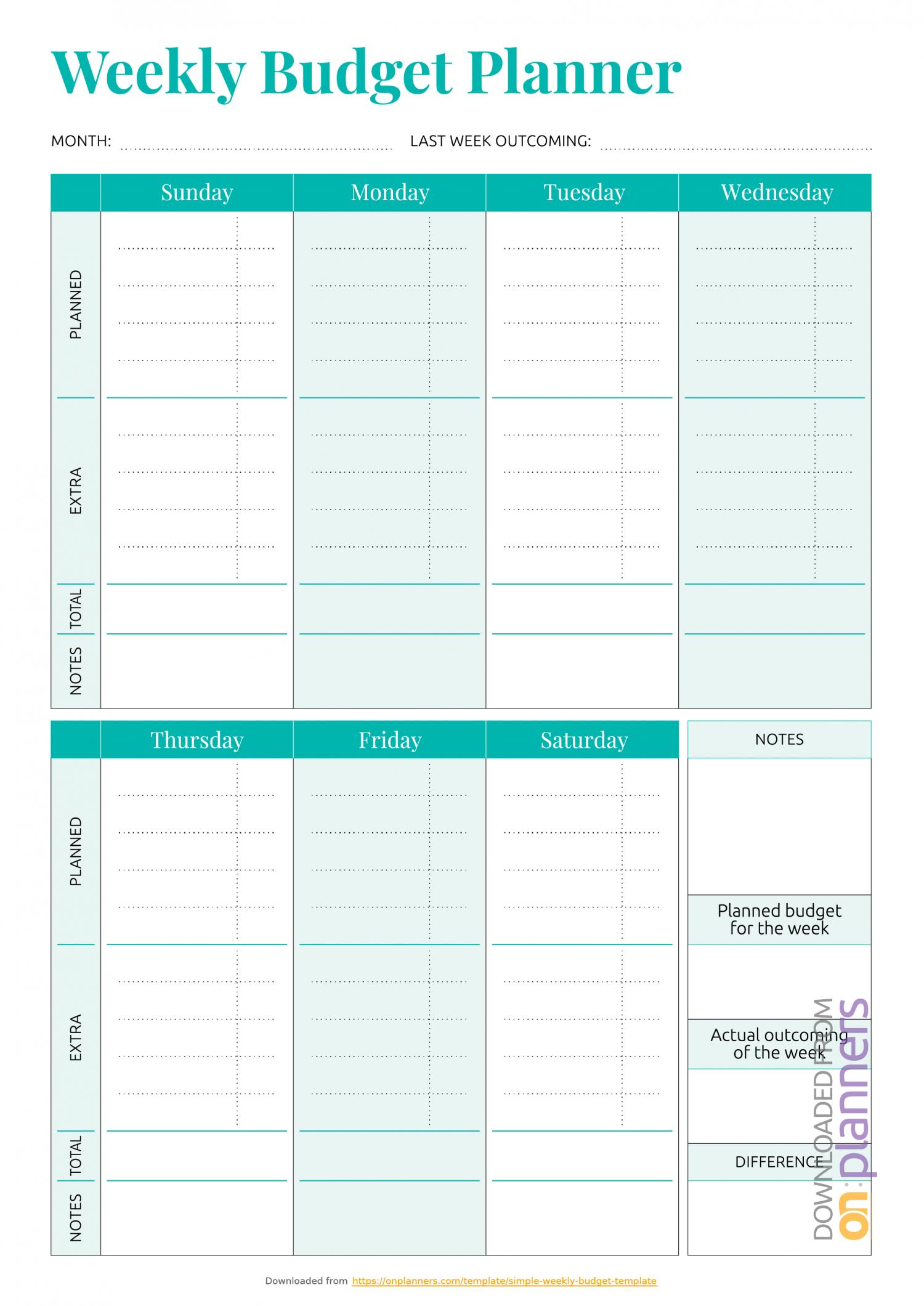 Printable Weekly Bill Planner