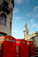 Phone boxes near St. Martin-in-the-Fields, Central London