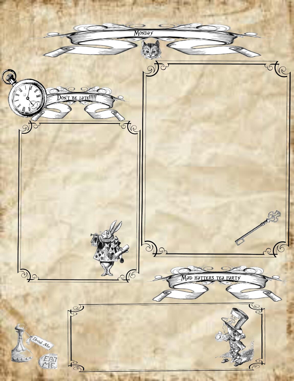 Alice In Wonderland Free Vintage Planner Printables