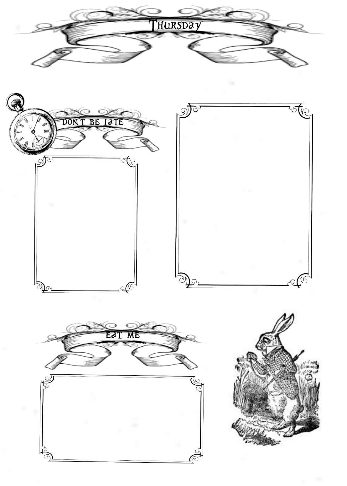 Alice In Wonderland Free Planner Printables Lorraine A