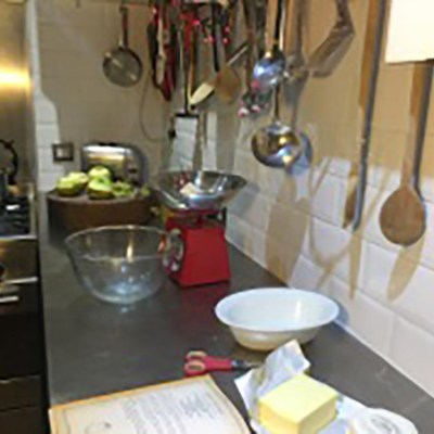 Get yourself organised with weighing scales, flour, butter, sugar, apples, mincemeat and cinnamon