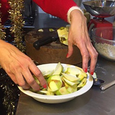 Put the apples in a dish and you need a tiny amount of water at the bottom of the dish