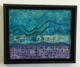 encaustic painting of dots squares and squiggles
