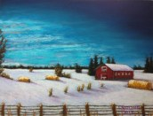 "Alberta Winter Evening with Barn and Haystacks Hwy 39     SOLD Lorraine Young Sennelier soft pastels on Colourfix sanded pastel paper, 9""x12"""