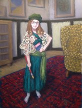 """La Jeune Boheme en Vert_Lorraine Young_9"""" x 12"""" soft pastels on sanded pastel paper NFS"""