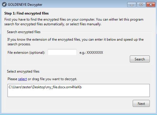 Malwarebytes Decryptor step 1