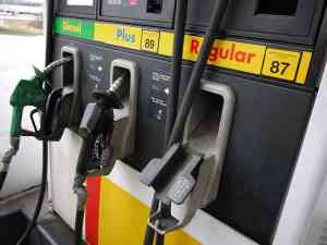 Gas pumps with 87, 89, grades of octane gasoline and diesel.