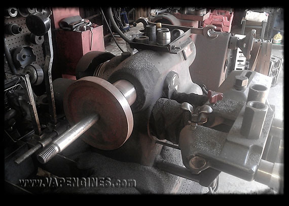 Brake lathe for resurfacing drums and rotors.