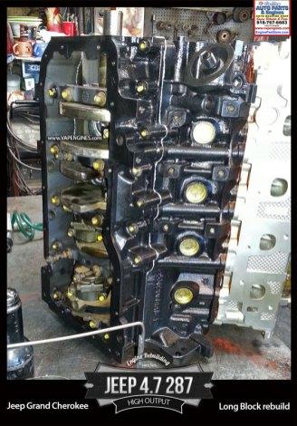 Remanufactured 02-04 jeep 4.7 287 v8 engine high output
