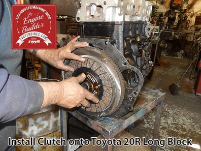 attach clutch onto toyota 20r long block