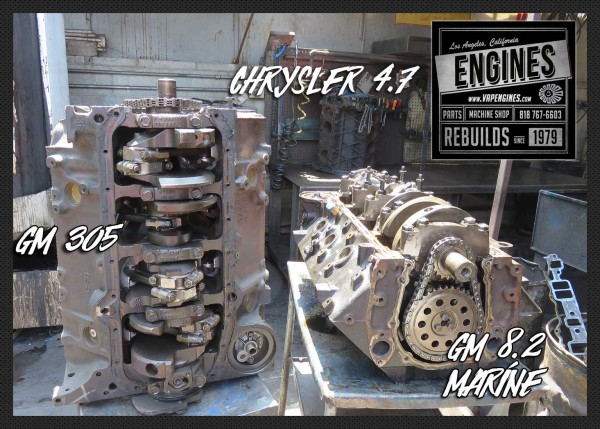 GM 305, GM 502 8.2, Chrysler 4.7 engines