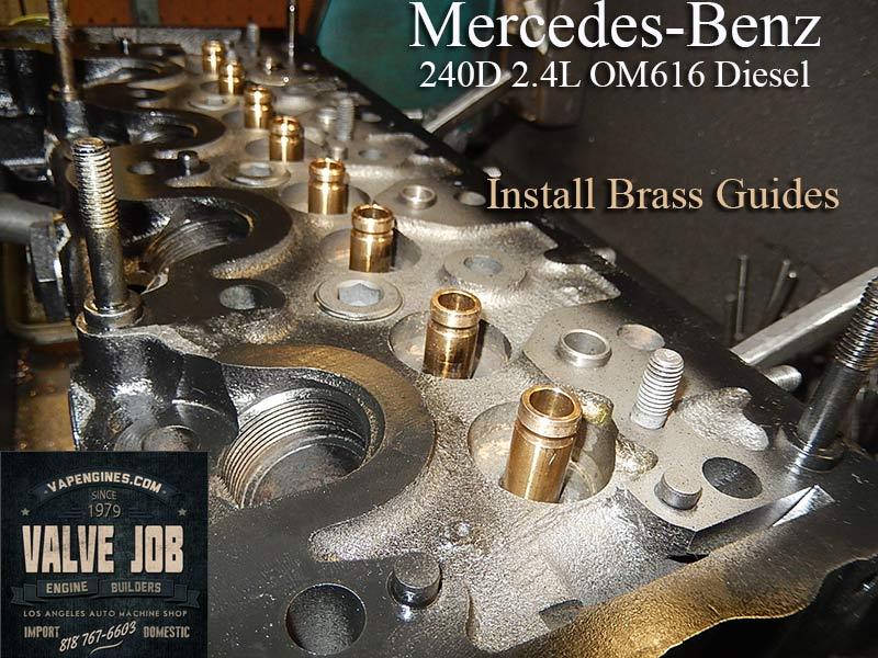 mercedes 240d install brass guides close up