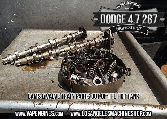 Hot tanked Dodge 4.7 cam and valve train parts