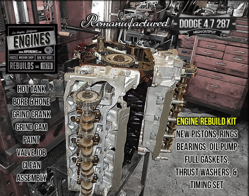 Remanufactured Dodge 4.7 High Output long block engine
