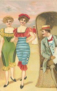 Due ragazze in spiaggia secondo la moda dell'Ottocento