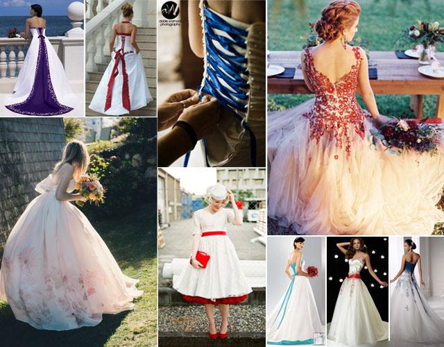 Vestido de novia blancos con toques de color