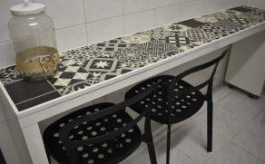 ikea hack mesa malm suelo vinilico