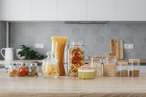 spices and pasta in jars on the table
