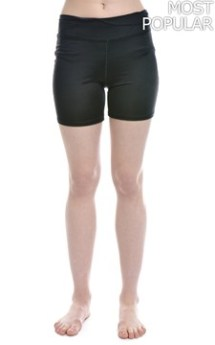 Coral and Black Lycra Shorts Exercise Wear