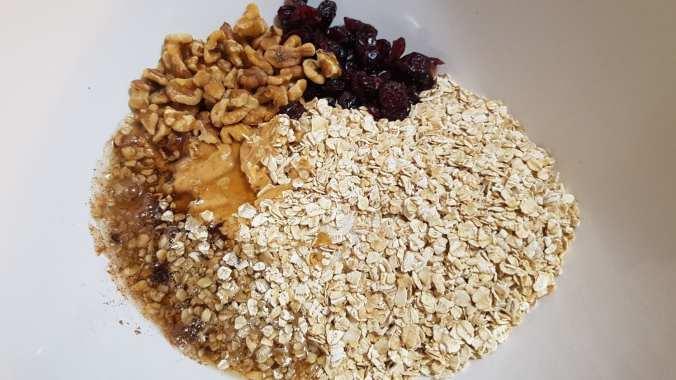 Cranberry Walnut Protein Bites Mixing Bowl