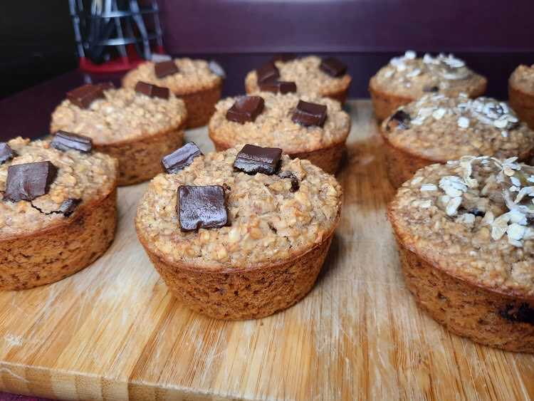 dinner Side view chocolate chunk muffins