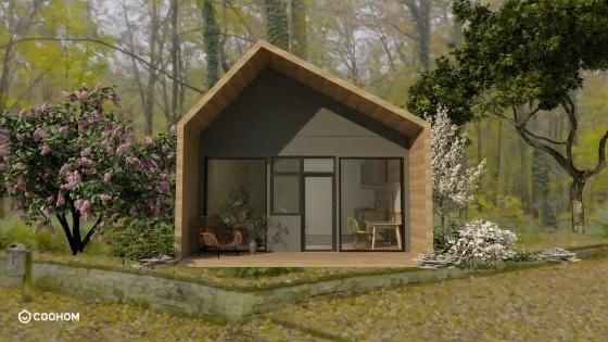 exterior rendering of a modern cabin