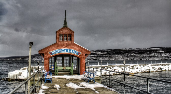 Watkins Glen marina in winter.